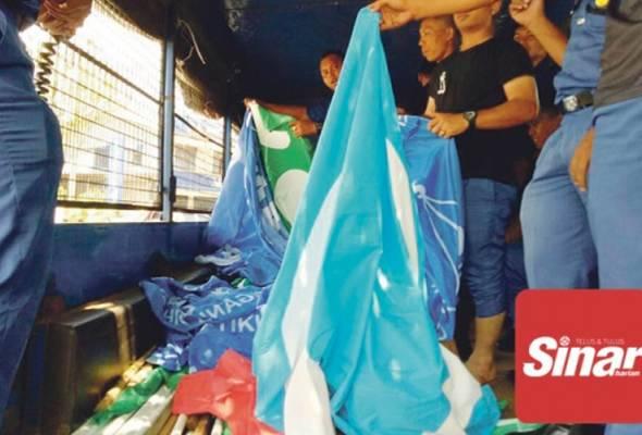 Bendera Parti Naik Lori Kerana Pasang di Tempat Tidak di Benarkan