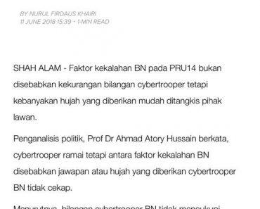 Menjawab Penjelasan Prof Dr Ahmad Atory Hussain Mengenai Caitroopers BN Kekurangan Hujah Bernas
