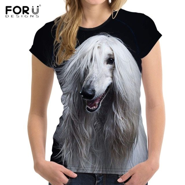 FORUDESIGNS Cute 3D Animal Afghan Hound Dog Prints Women T Shirts Stylish Short Sleeve Top Tees