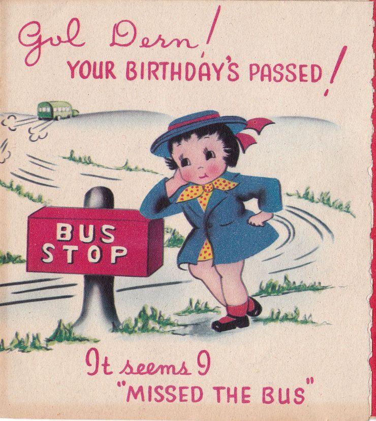 Belated Birthday vintage card Old Birthday Cards Belated Birthday Card Birthday Greetings Girl