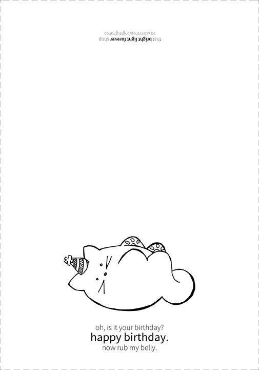 Funny Cat Birthday Card Printable Instant by brightlightshop
