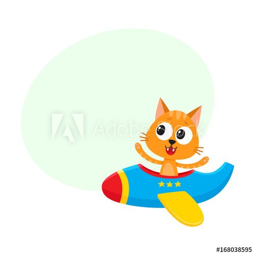 Cute funny cat kitten pilot character flying on airplane cartoon vector illustration with space