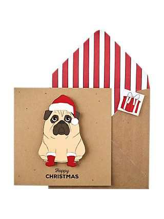 Tache Cards Santa Pug Christmas Card