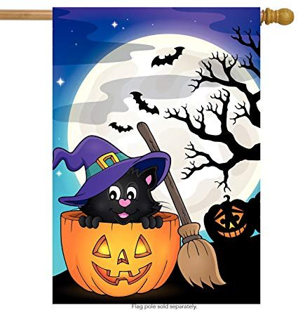 "ShineSnow Pumpkin Cat Halloween Broomstick House Flag 28"" x 40"" Double Sided Polyester"