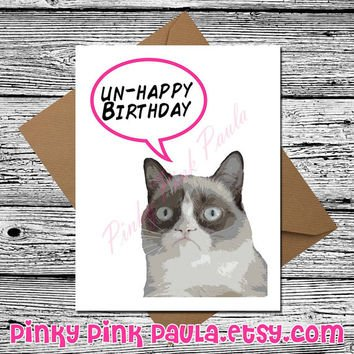 Grumpy Cat Funny Birthday Card Funny Cat Card Cute Birthday C