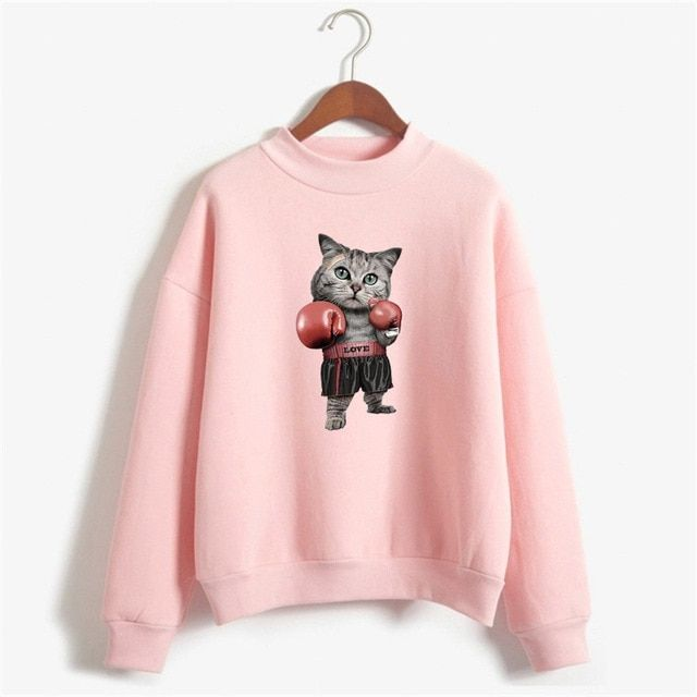 Funny boxinger cat print hoo s Sweatshirts women Cute 3D boxer Cat pullover cool o neck
