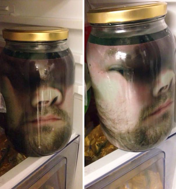 1 Press Your Face Up Against Some Glass Take A Picture Print It Laminate It Place It In A Jar Put The Jar In The Fridge