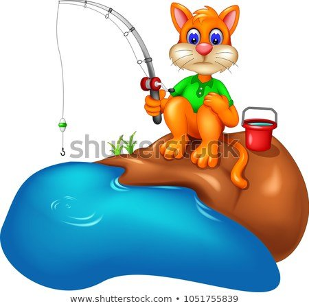 funny cat cartoon fishing with smile