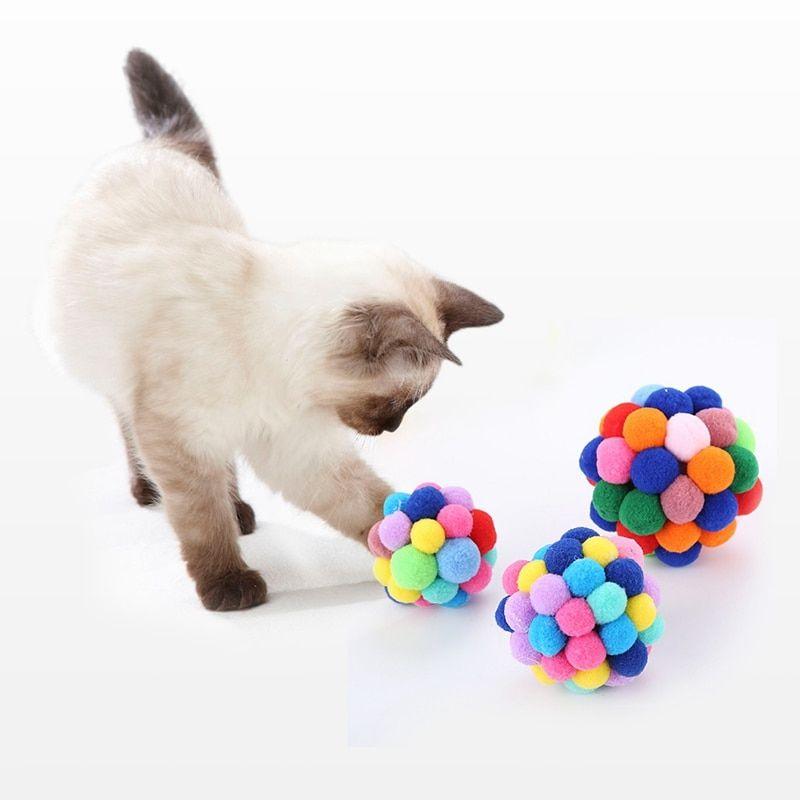 Cat Toys Handmade Bells Bouncy Teaser Ball Playing Catnip Chew Scratcher Funny Toys Interactive Pet Kittens