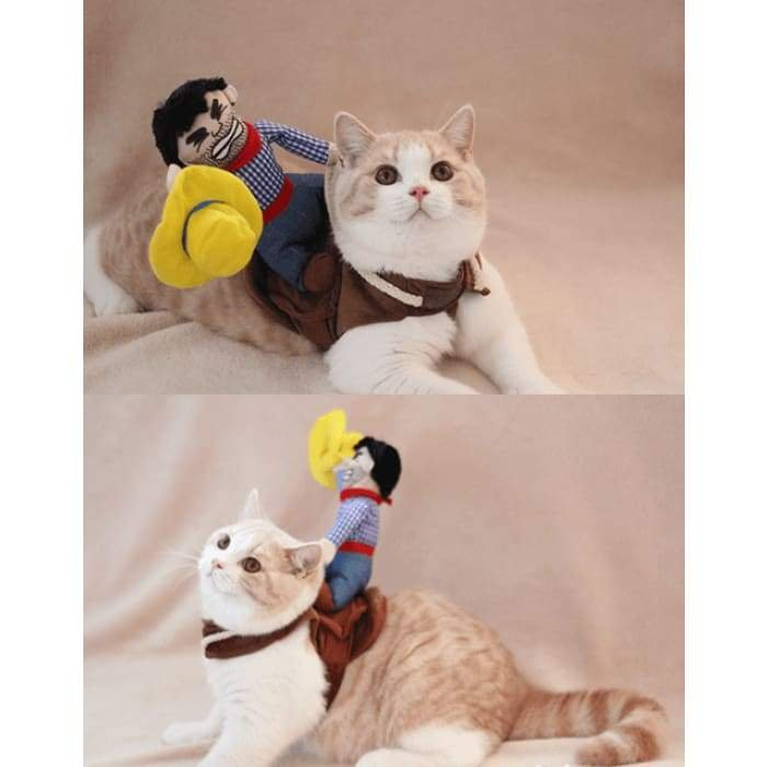 CATS AND DOGS FRIENDS Funny Fashion Pet Dog Cat Clothes Costume Dress Cowboy Rider Suit Outfit