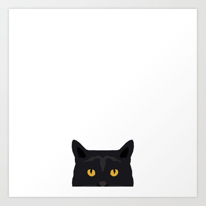 Peeking black cat face cute pet portrait funny cat lovers ts Art Print