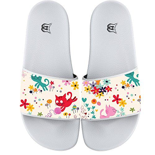 COWDIY Funny Cat Slipper Slip Flip Flop Slide Athletic Sandal Shower Beach Shoe for Men