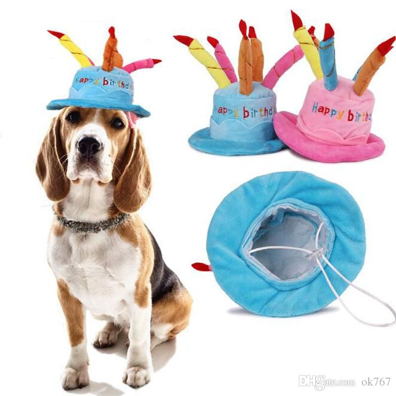 Best Creative Dog Birthday Hat With Cake And Candles Design Pets Puppy Cap Cute Dog Hats Birthday Supplies Accessories Headwear Under $4 07