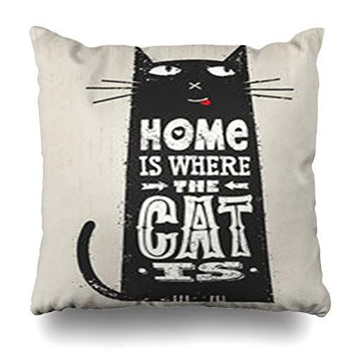 DaniulloRU Throw Pillow Covers Pet Where Cat is Funny Quote About Pets Outstanding Post Distressedd Wildlife Domestic Home Decor Sofa Cushion Cases