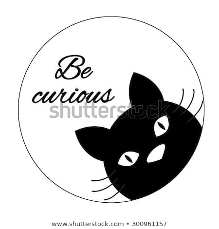 Funny cat card design Cute cat face carton character Black cat silhouette Inspiration quote Motivational words