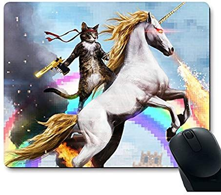 Apottwal MP 0003 Funny Cute Cat Dressed as Rambo with Gun Riding a Glowing Red Eyes Fire Breathing Unicorn Mouse Pad
