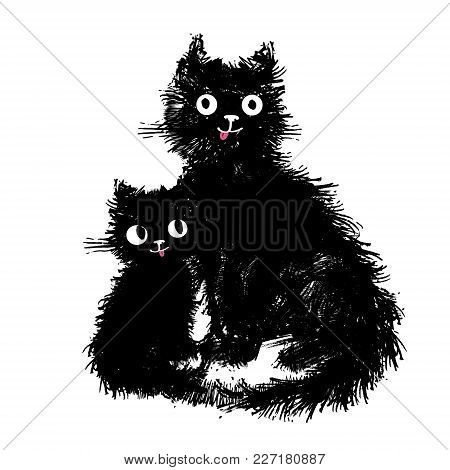 Mama Cat And Her Baby Kitten Sitting Hand Drawn Illustration Cute Fluffy Funny Cats