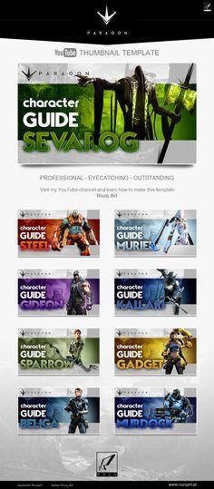 Youtube thumbnail template design for Paragon MOBA game videos Check the speedart tutorial video