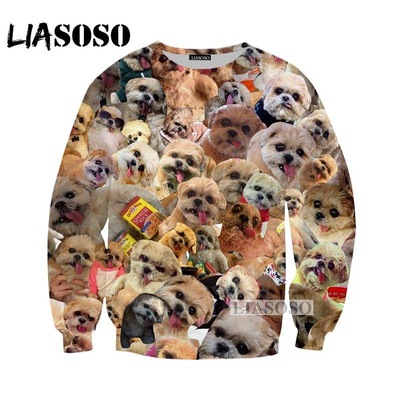LIASOSOS NEW Animals Doge SHIBA Funny MEME 3D Print Sweatshirts Uni Dog Nyan Cat Cute Colorful Space Brand Clothing Tops G491