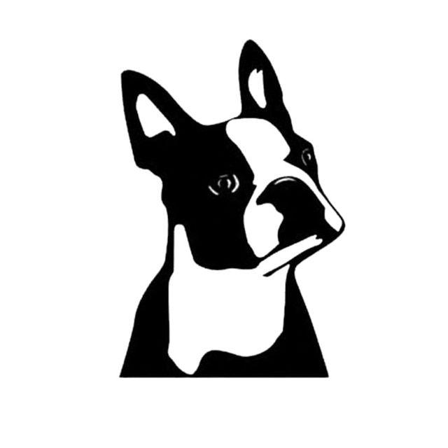 7 6 11 4CM Cute Boston Terrier Dog Car Window Decorative Stickers Cute Cartoon Vinyl Decal