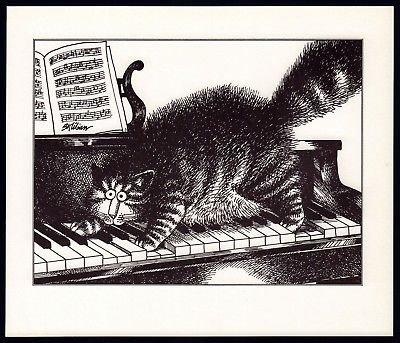 B Kliban Cats PIANO CAT GOES POOF vintage funny cat art print