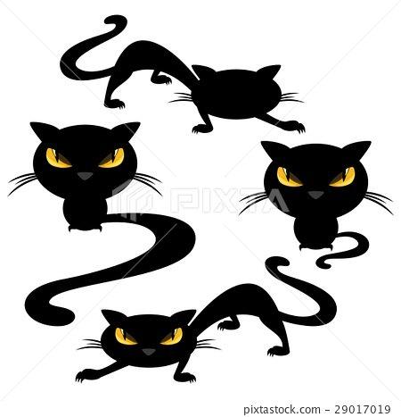 funny evil black cats halloween vector set