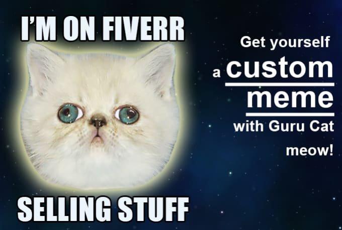 custom funny or promotional guru cat meme