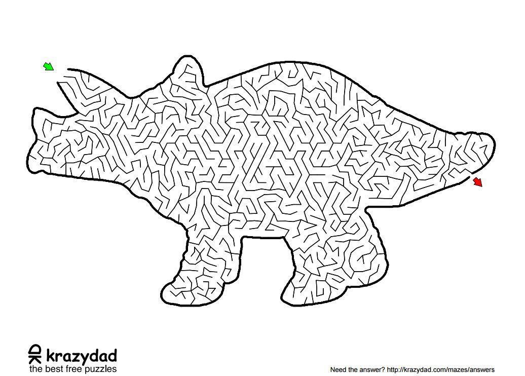 A dinosaur shaped maze