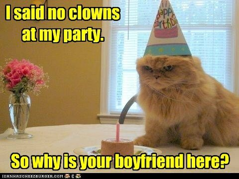 birthday party boyfriend captions Cats clowns Party