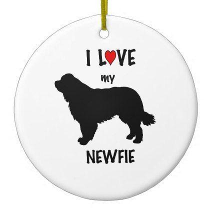 I LOVE My Newfoundland Dog Ceramic Ornament funny ic style ics geek geeks fun
