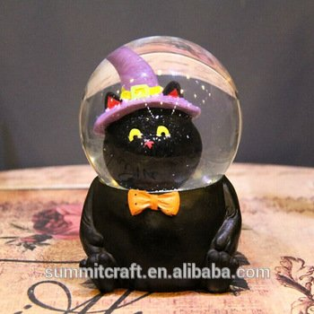 Resin funny black cat kids snow globes halloween water globes