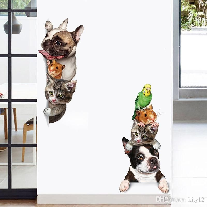 Funny 3D Cat Dog Door wall stickers kids rooms living room home decor background Art decals