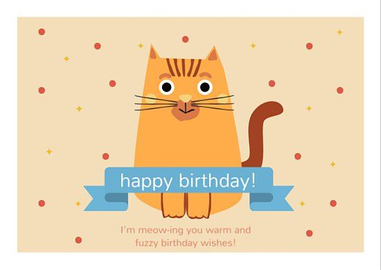 Cute Cat Happy Birthday Card