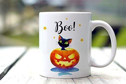 Halloween Mug Boo Black Cat Mug Fall Decor Halloween Mug Gift for