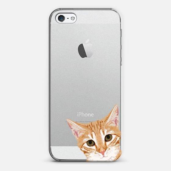 Peeking Cat transparent funny meme cat face for cat lady cat people cases