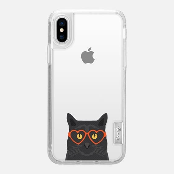 Funny black cat meme joke illustration hipster glasses summer cute transparent cell phone case with cat