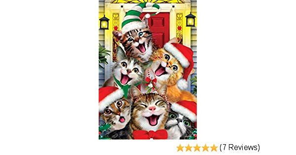 Amazon Christmas Cats STANDARD Size 28 Inch X 40 Inch Decorative Double Sided Flag Printed in USA Copyright and Licensed Trademarked by Custom