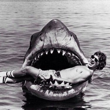 1960s Steven Spielberg in the shark s mouth on the set of Jaws 1975