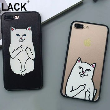 Cute Grumpy Animal Middle Finger Cat Case For iphone 7 Cover For iphone 7PLus 6 6S