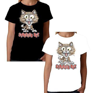 Velocitee La s T Shirt Stressed Out Cat Funny Kitty Face Fashion W