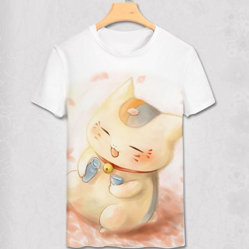 Wholesale Japan Anime Cat Teacher Natsume Yuujinchou Natsume T Shirt Boys Men Cosplay Custom Cartoon T Shirt Women Girls Animation Gift Funny Tee T Shirt