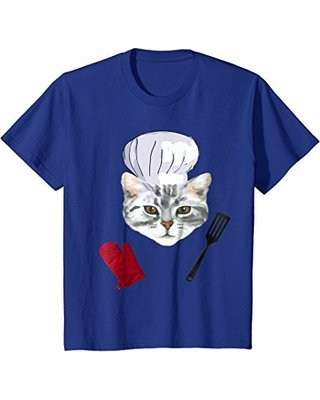 Kids Funny Chef Cat Cooking T Shirt 8 Royal Blue