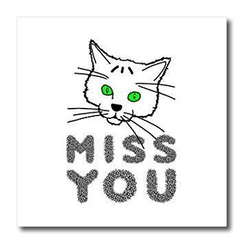 3dRose Alexis Design Funny Cats Funny but a bit sad cat MISS YOU