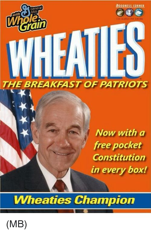 Memes Patriotic and Breakfast Genera Mills 0ODNESS CORNER with le rain WHEATIES THE