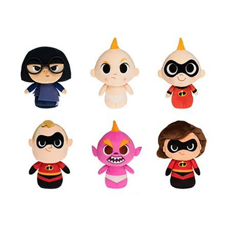 Incredibles 2 Super Cute Plush Set of 6 Mr Incredible Elastigirl Baby Jack