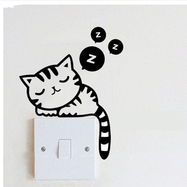 NieNie 1Pc Sleepy Cat Wall Stickers Funny Cute Dog Plane Cartoon Switch Stickers Home Decor