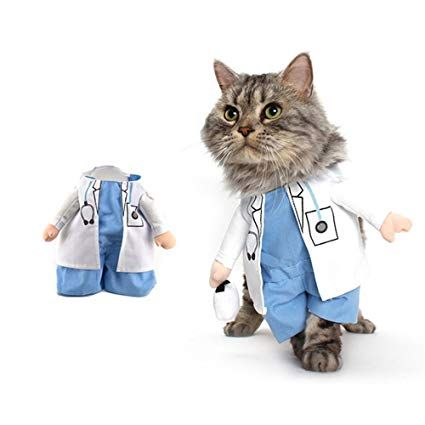 Gomaomi Pet Dog Cat Halloween Costume Doctor Costume Dog Jeans Clothes Cat Funny Apparel Outfit Uniform