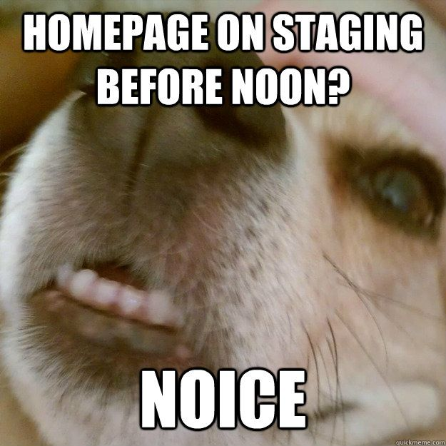 Homepage on staging before noon NOICE