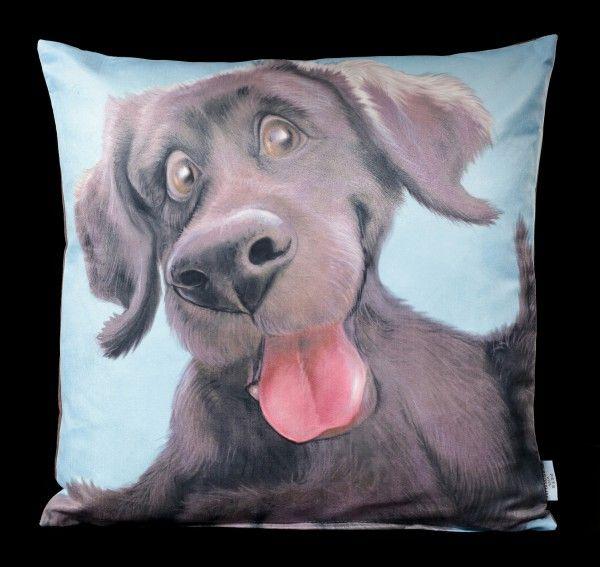 Cushion with Dog Black Labrador