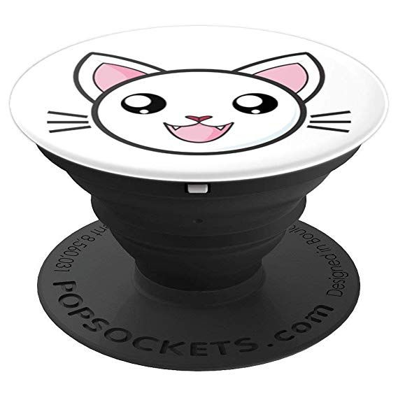 Cute Cat Face Kawaii Anime Smile Funny Nya Japan Emoji PopSockets Grip and Stand for